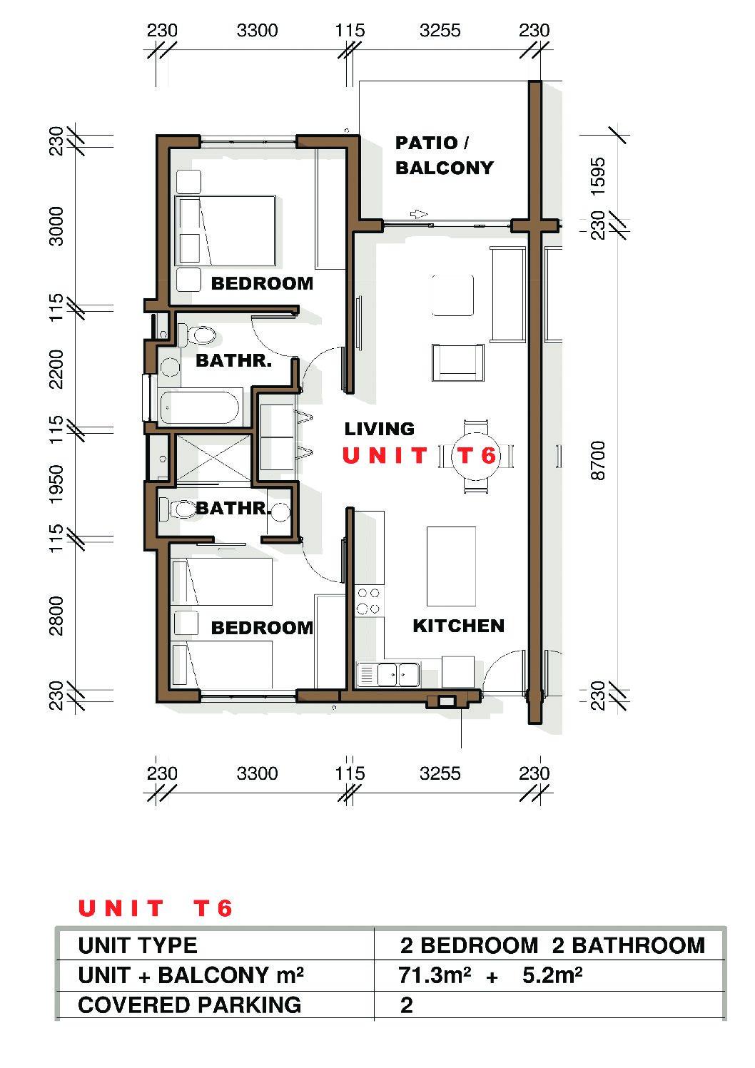 IQ Arabella Unit Plan 2 bedroom 2 bathroom