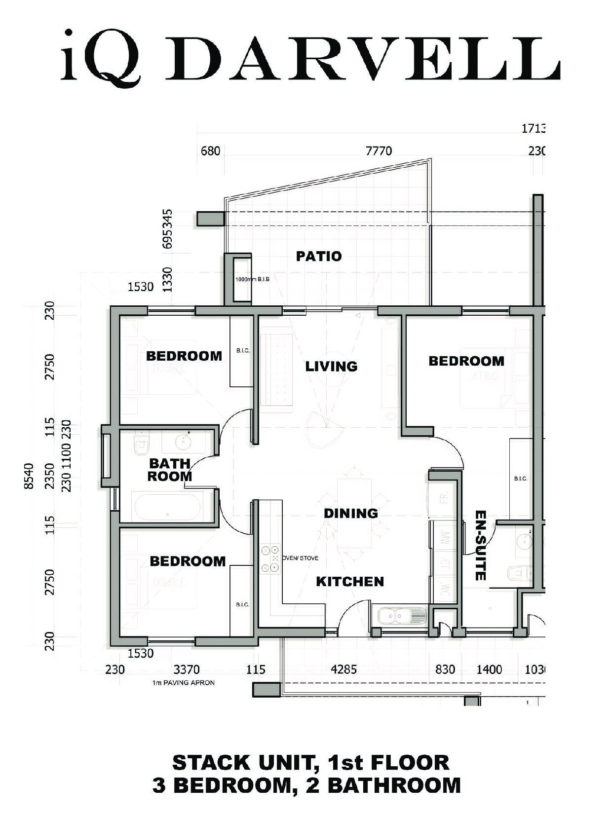 IQ Arabella Unit Plan 2 bedroom 2 bathroom
