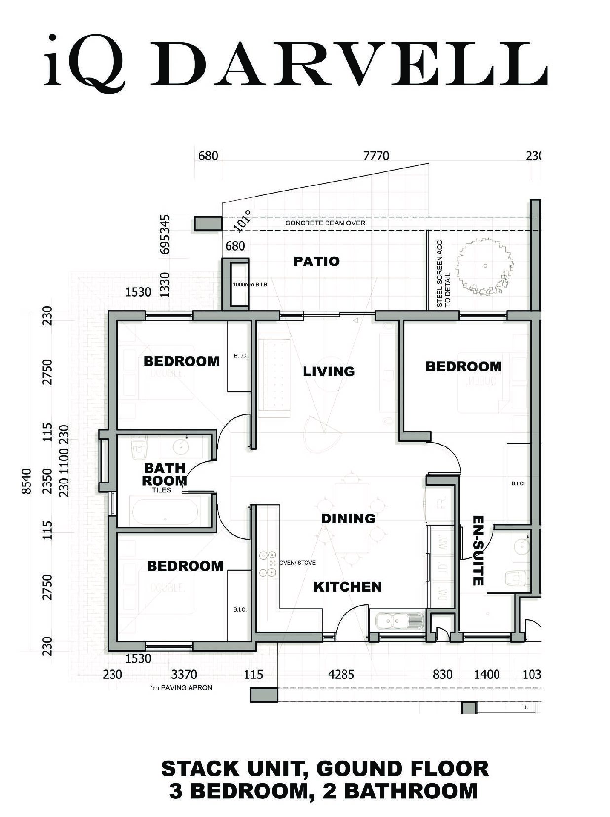 IQ Arabella Unit Plan 3 bedroom 2 bathroom North