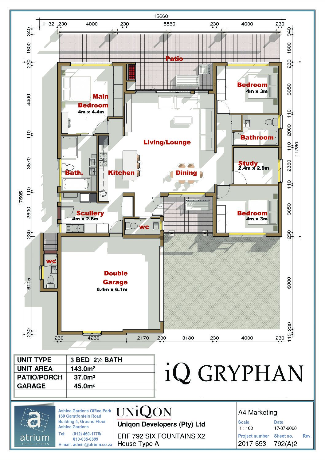 IQ Arabella Unit Plan 3 bedroom 2 bathroom South