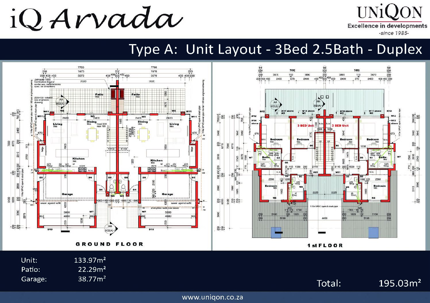 IQ Arabella Unit Plan 3 bedroom 2 bathroom South